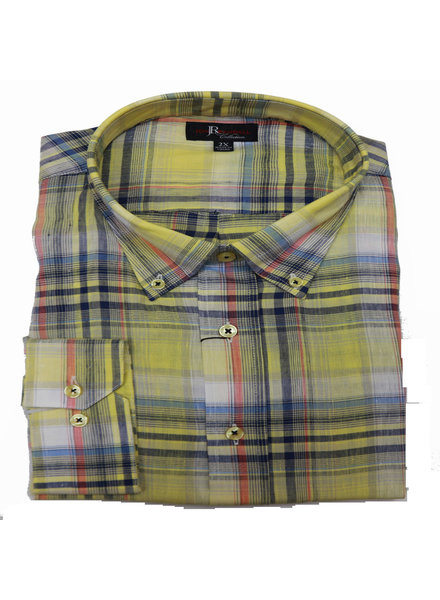Jon Randall F/X Fusion JR LS Florence Yellow Plaid Shirt