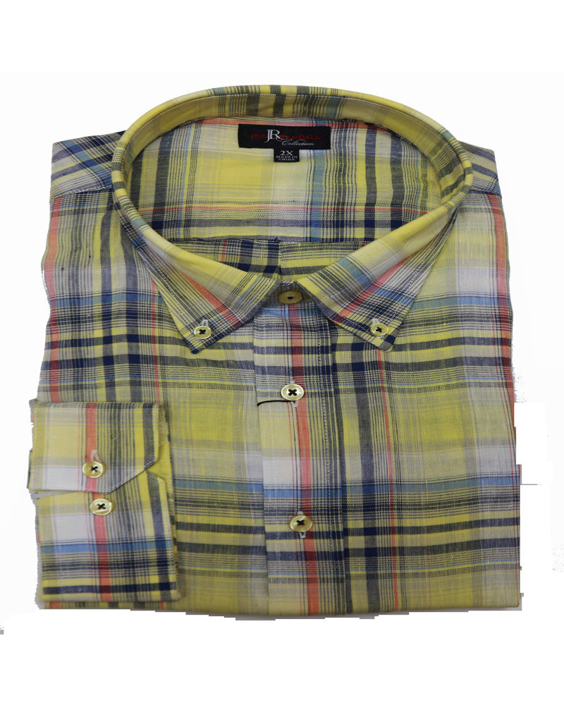 Jon Randall F/X Fusion JR LS Florence Yellow Plaid Shirt