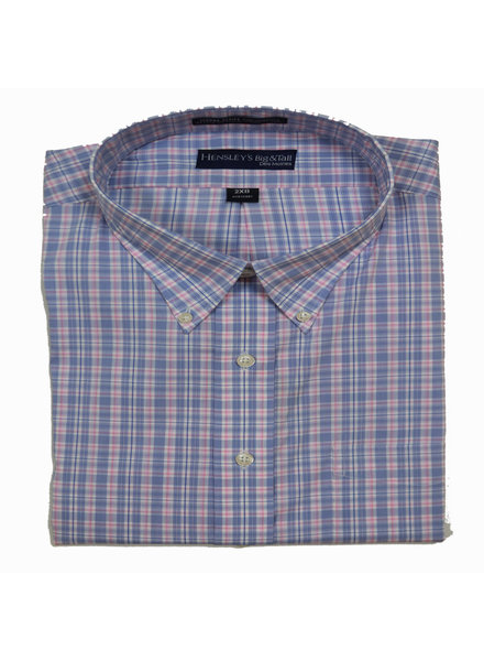 Hensley's Hensley's LS BD Techno Blue Plaid Shirt