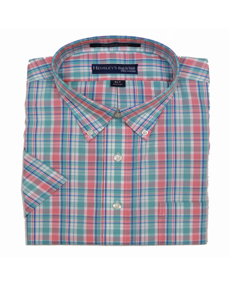 Hensley's Hensley's SS BD Aqua Plaid Shirt