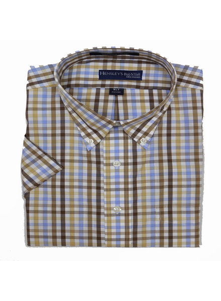 Hensley's Hensley's SS BD Khaki Check Shirt