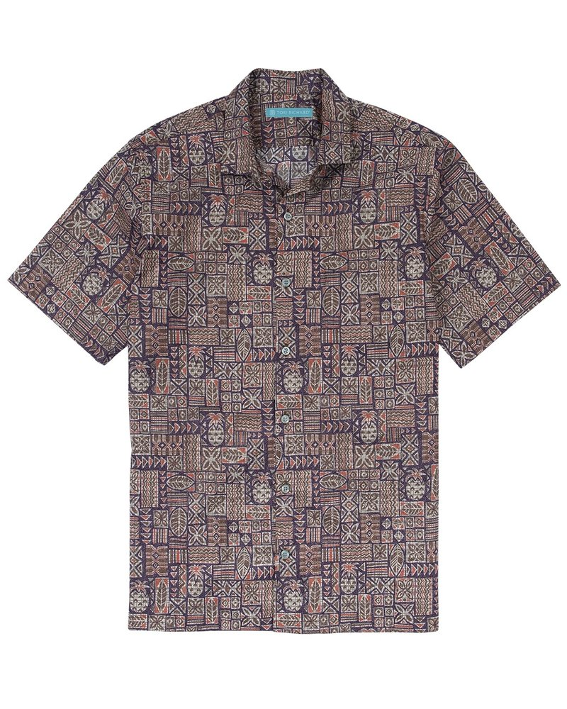 Tori Richard Eggplant Elemental Cotton Lawn Shirt