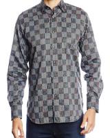 Luchiano Visconti Hensley's LV LS Grey Patchwork Shirt