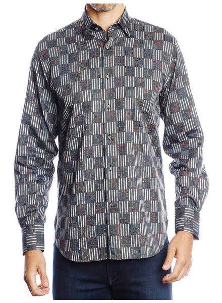 Luchiano Visconti Hensley's LV LS Grey Patchwork Shirt