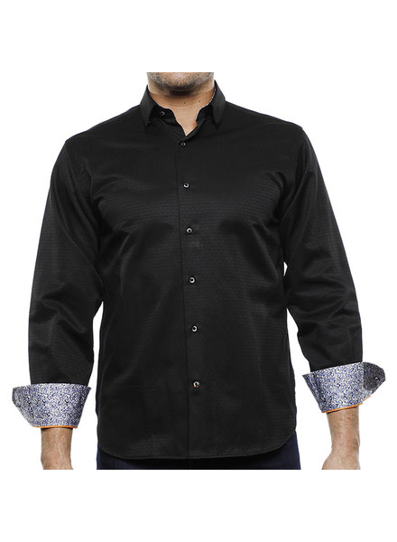 Luchiano Visconti Hensley's LV LS Black Tonal Square Shirt