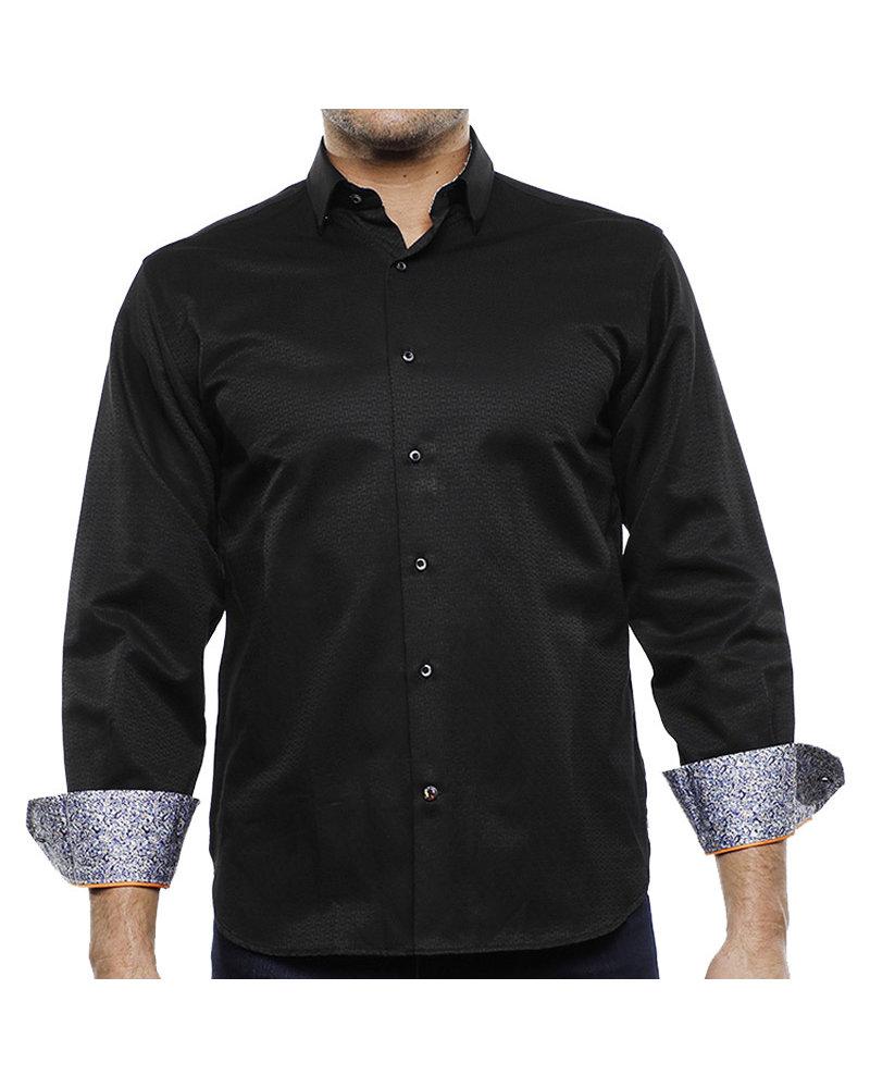 Luchiano Visconti Hensley's LV LS Black Tonal Square Shirt