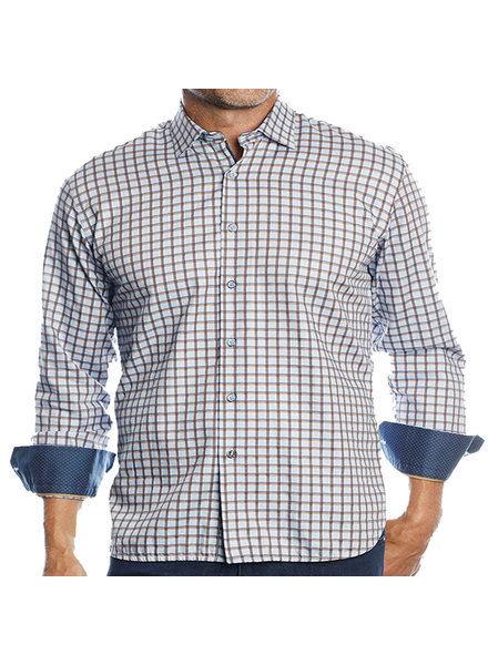 Luchiano Visconti Hensley's LV LS Brown/Navy Check Shirt