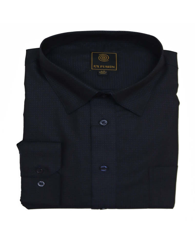 F/X Fusion F/X Fusion LS Easy Care Indigo Pin Dot Shirt
