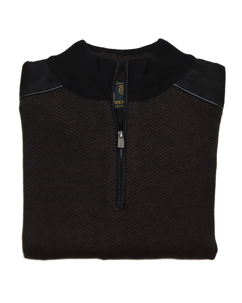 F/X Fusion F/X Fusion 1/4 Zip Brown Herringbone Mock