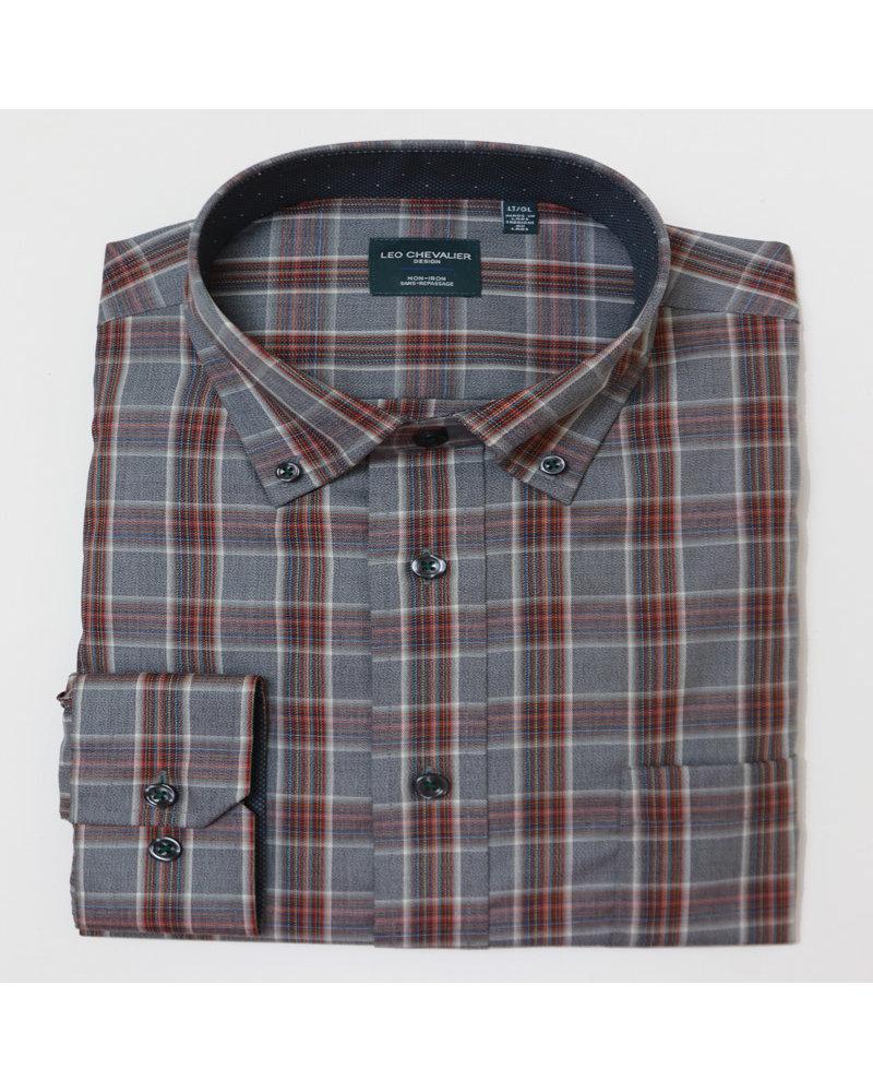 Leo Chevalier Leo Chevalier LS BD NI Gray/Red Plaid Shirt