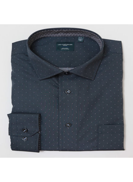 Leo Chevalier Leo Chevalier LS NI  Charcoal Pin Dot Shirt