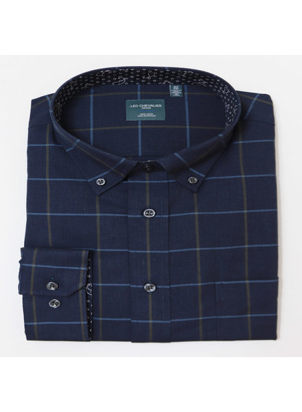 Leo Chevalier Leo Chevalier LS BD NI Heather Blue  Plaid