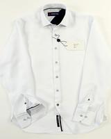 Luchiano Visconti Hensley's LV LS White Tonal Neat Print Shirt