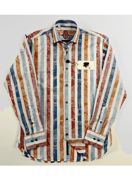 Luchiano Visconti Hensley's LV LS White/Multi Stripe Shirt