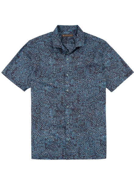 Tori Richard Blue Geo-Ethnic Cotton Lawn Shirt