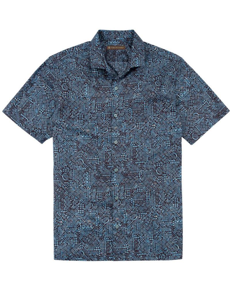 Tori Richard Tori Richard Blue Geo-Ethnic Cotton Lawn Shirt