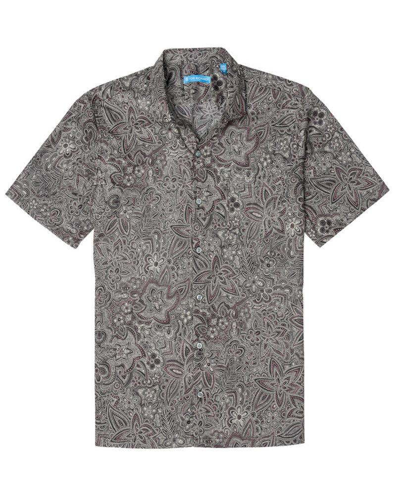 Tori Richard Black Pastiche Cotton Lawn Shirt