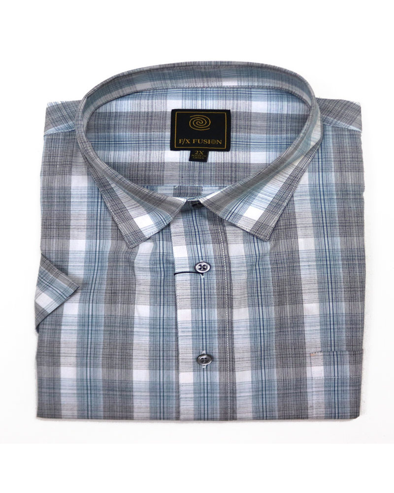 F/X Fusion F/X Fusion SS Easy Care Teal Textured Plaid Shirt