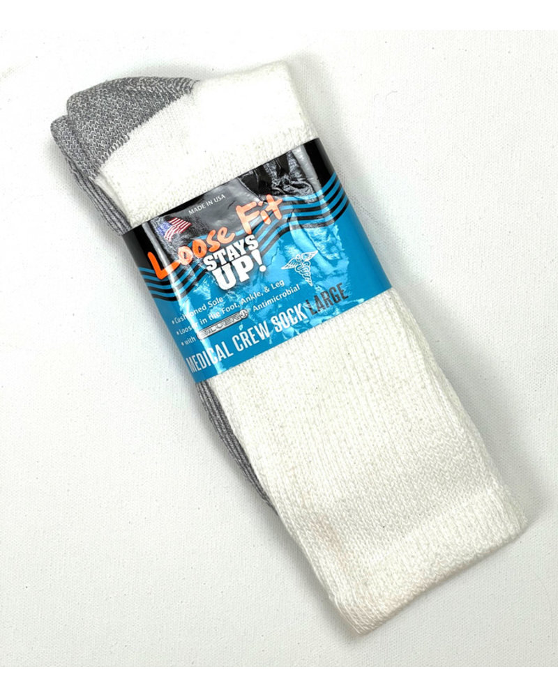 Extra Wide Sock Extra Wide Loose Fit Medical-White