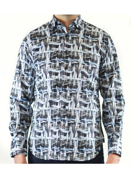 Luchiano Visconti Hensley's LV LS Blue/Grey Marled Shirt
