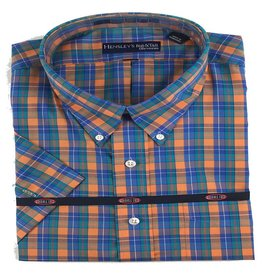 Hensley Hensley's SS Wrinkle Free Orange Plaid Shirt