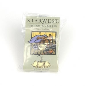 "StarWest Botanicals, Inc. Press-N-Brew Tea Bags 2.5"" x 2.5"" 40 pack"