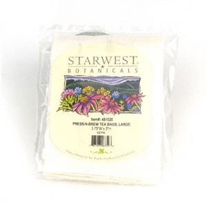 "StarWest Botanicals, Inc. Press-N-Brew Tea Bags 4"" x 5"" 12 Pack"