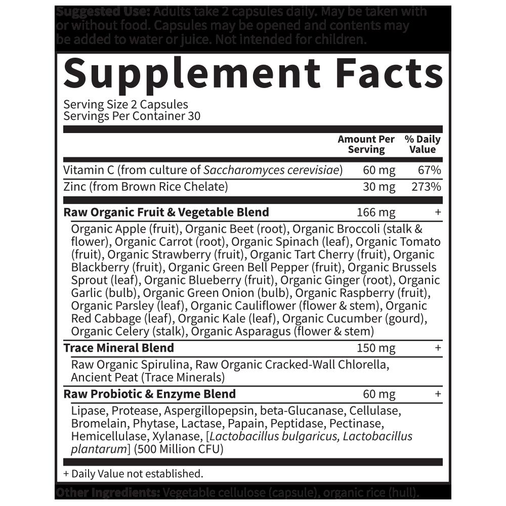 Vitamin Code Raw Zinc - 60 vegan capsules