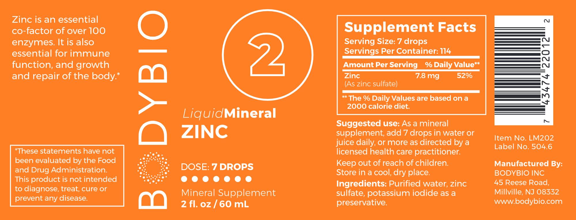 Body Bio Liquid Zinc - 2 oz