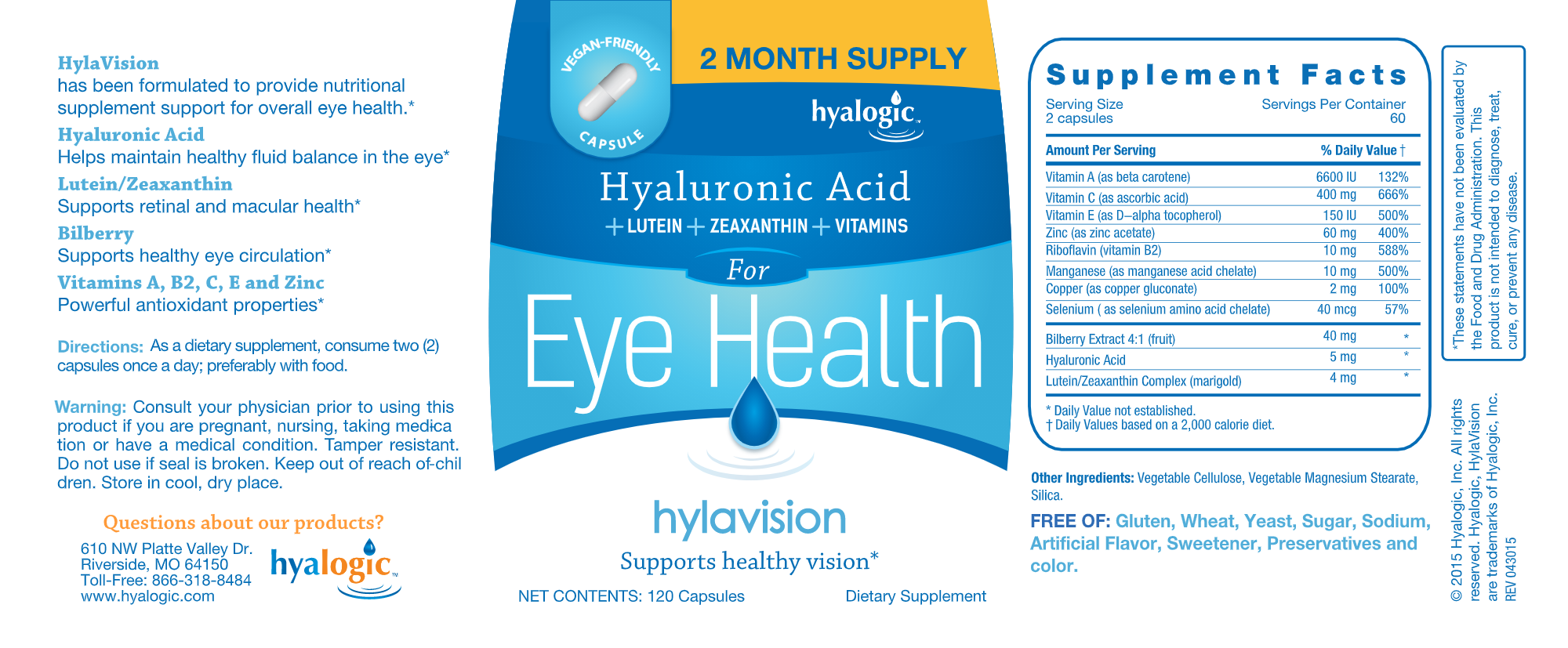 Hylavision Eye Health w/ HA 120 vegcaps