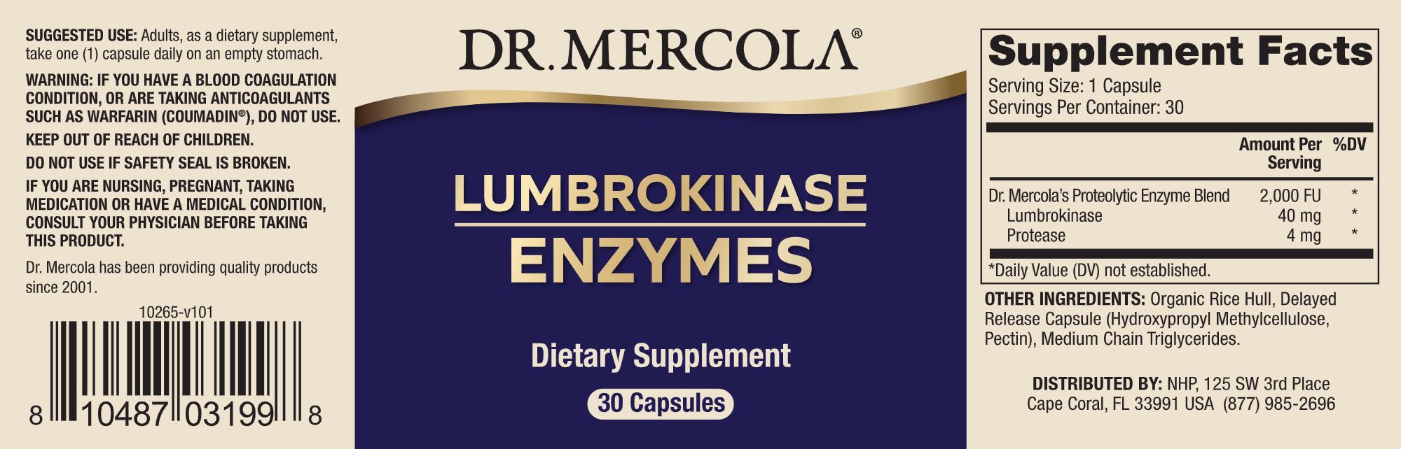 Lumbrokinase enzymes 30 caps