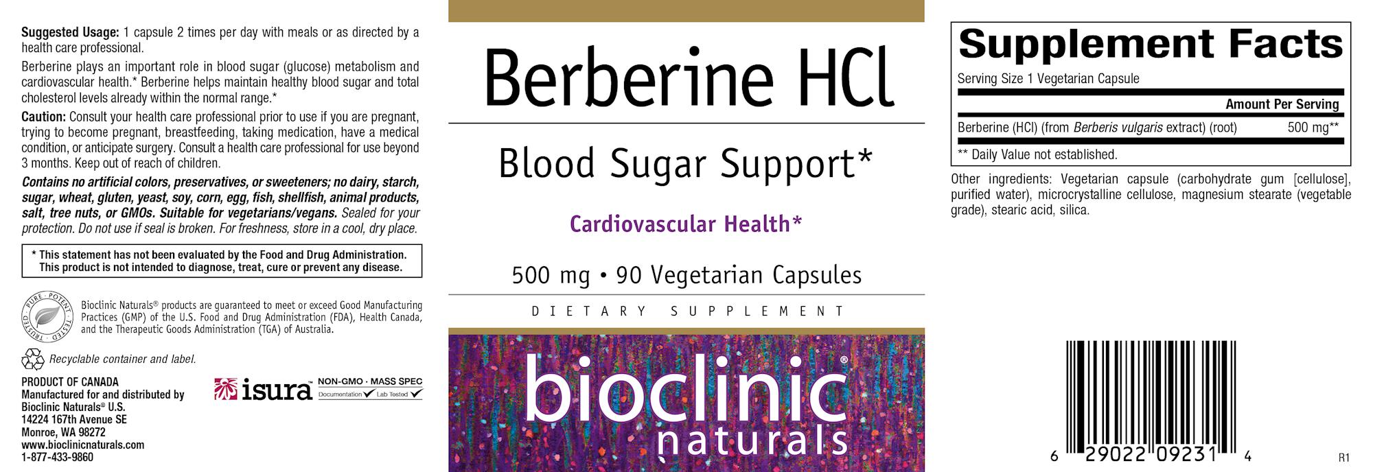 Berberine HCL 90 vegcaps