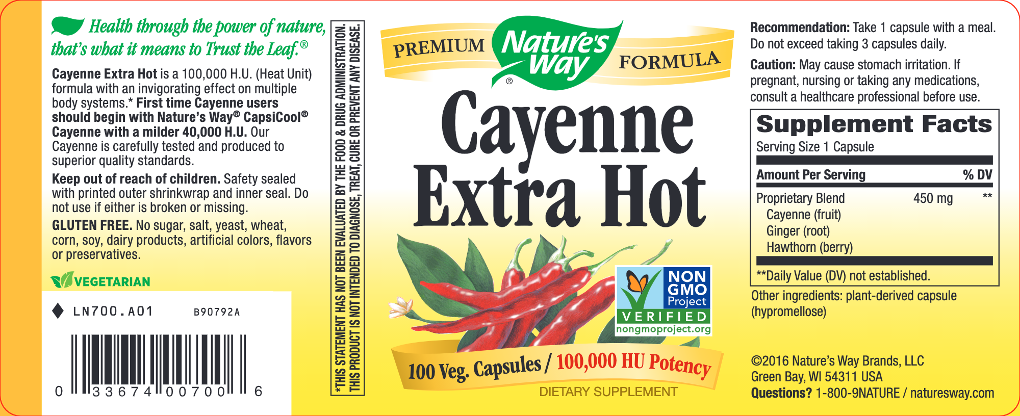 Nature's Way Products Cayenne Extra Hot 100 capsules
