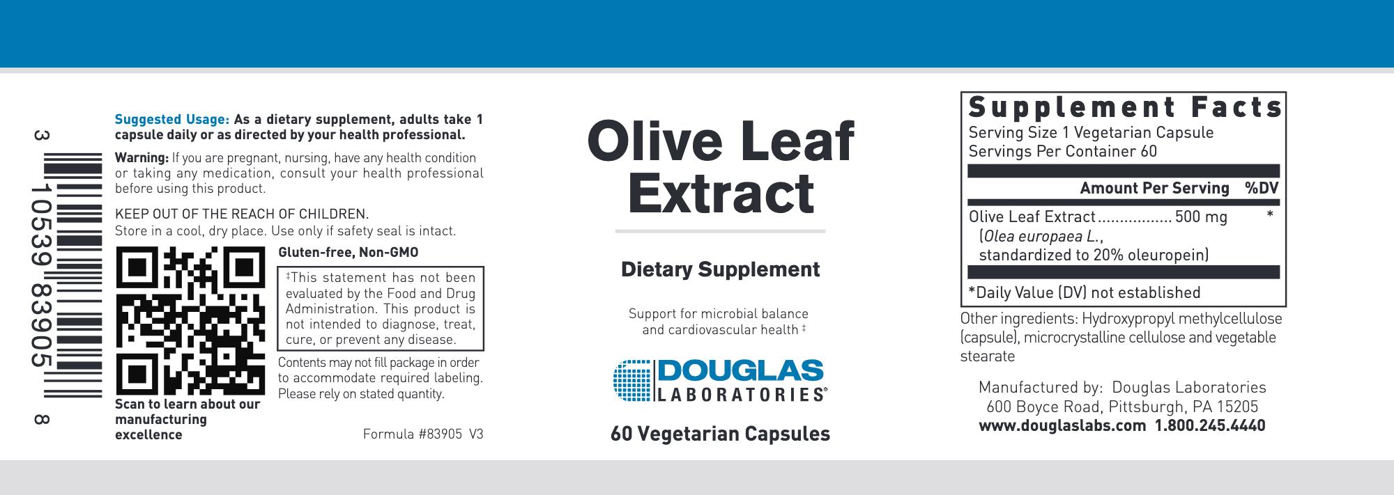 Douglas Laboratories Olive Leaf extract 60 vegcaps