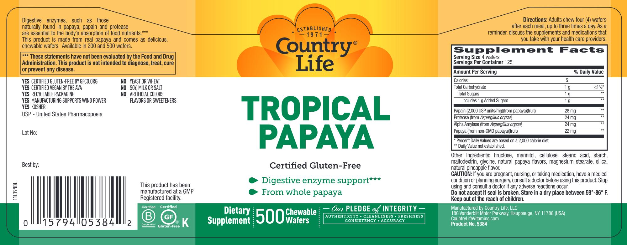 Tropical Papaya Enzymes 500 wafers