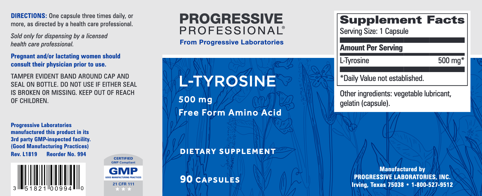 Aminos L-Tyrosine 500mg 90caps