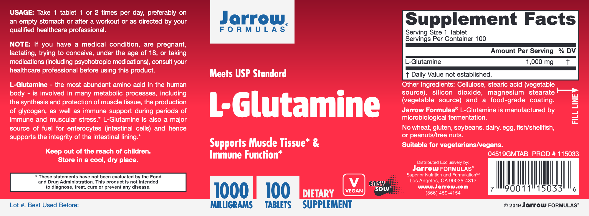 L-Glutamine 1000 mg 100 tabs