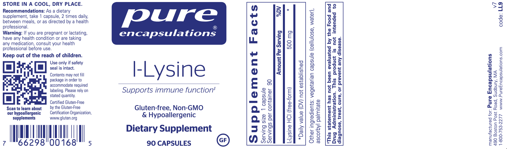 L-Lysine 500 mg 90 vegcaps