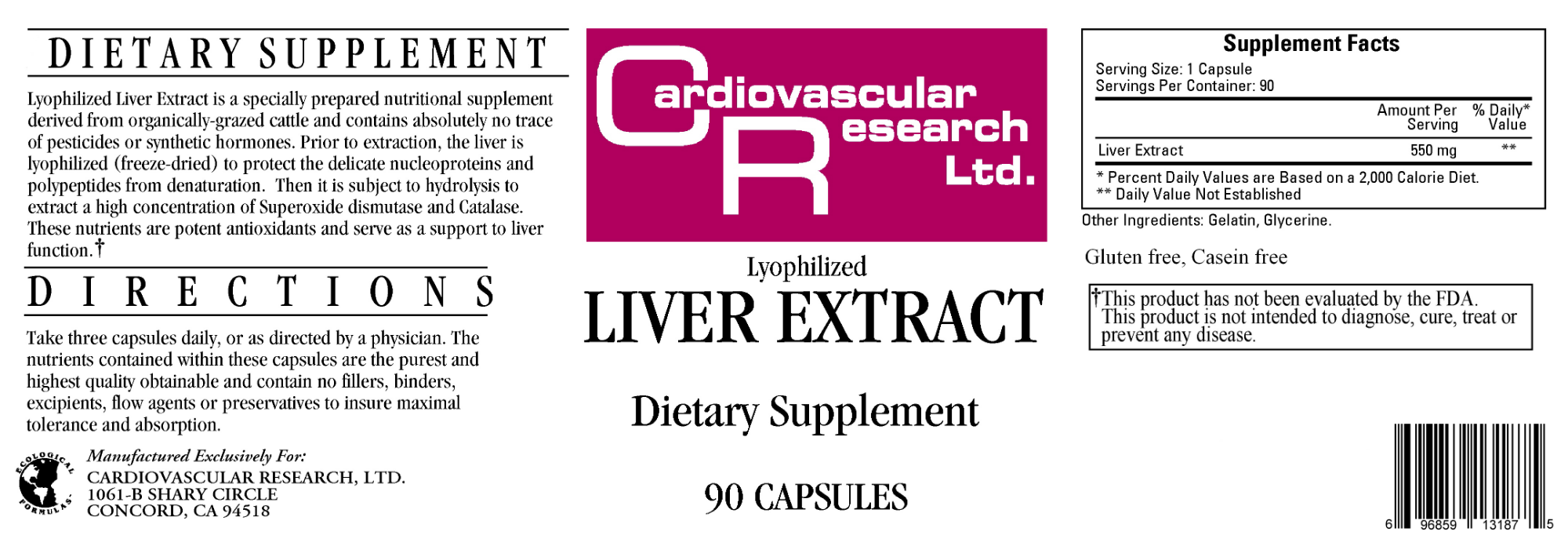 Liver Extract 550 mg 90 caps