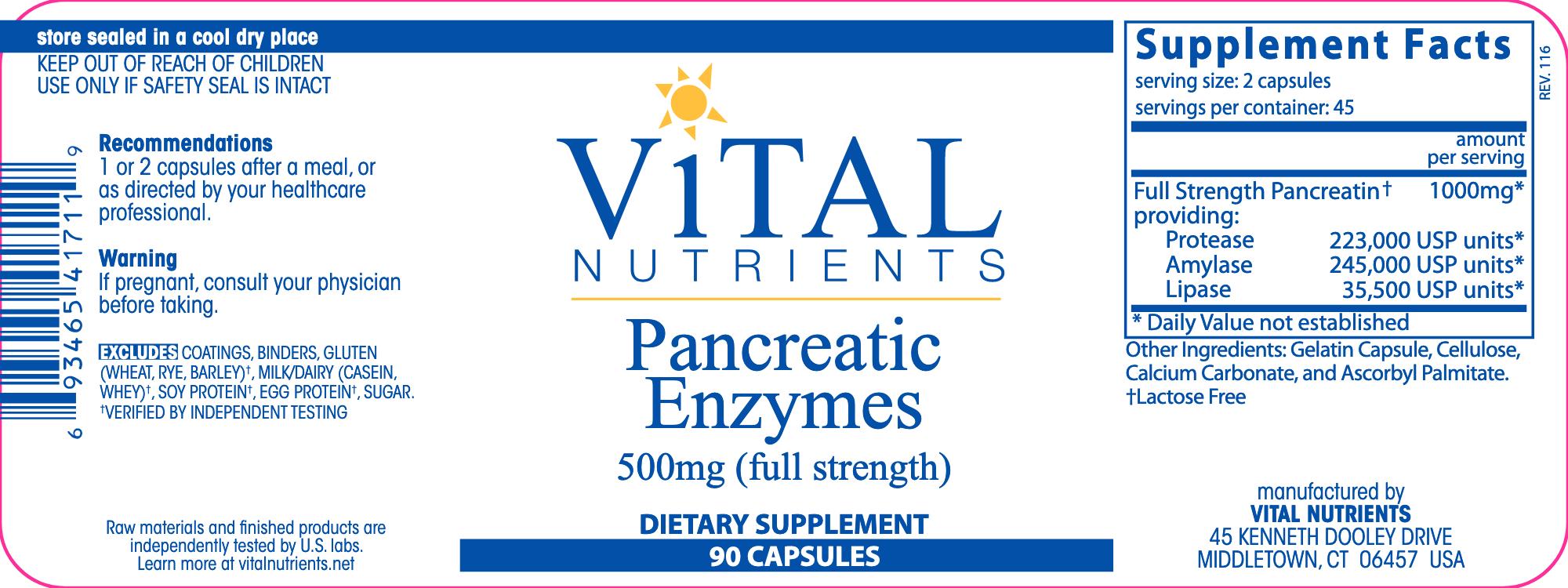 Pancreatic Enzymes 500 mg 90 caps