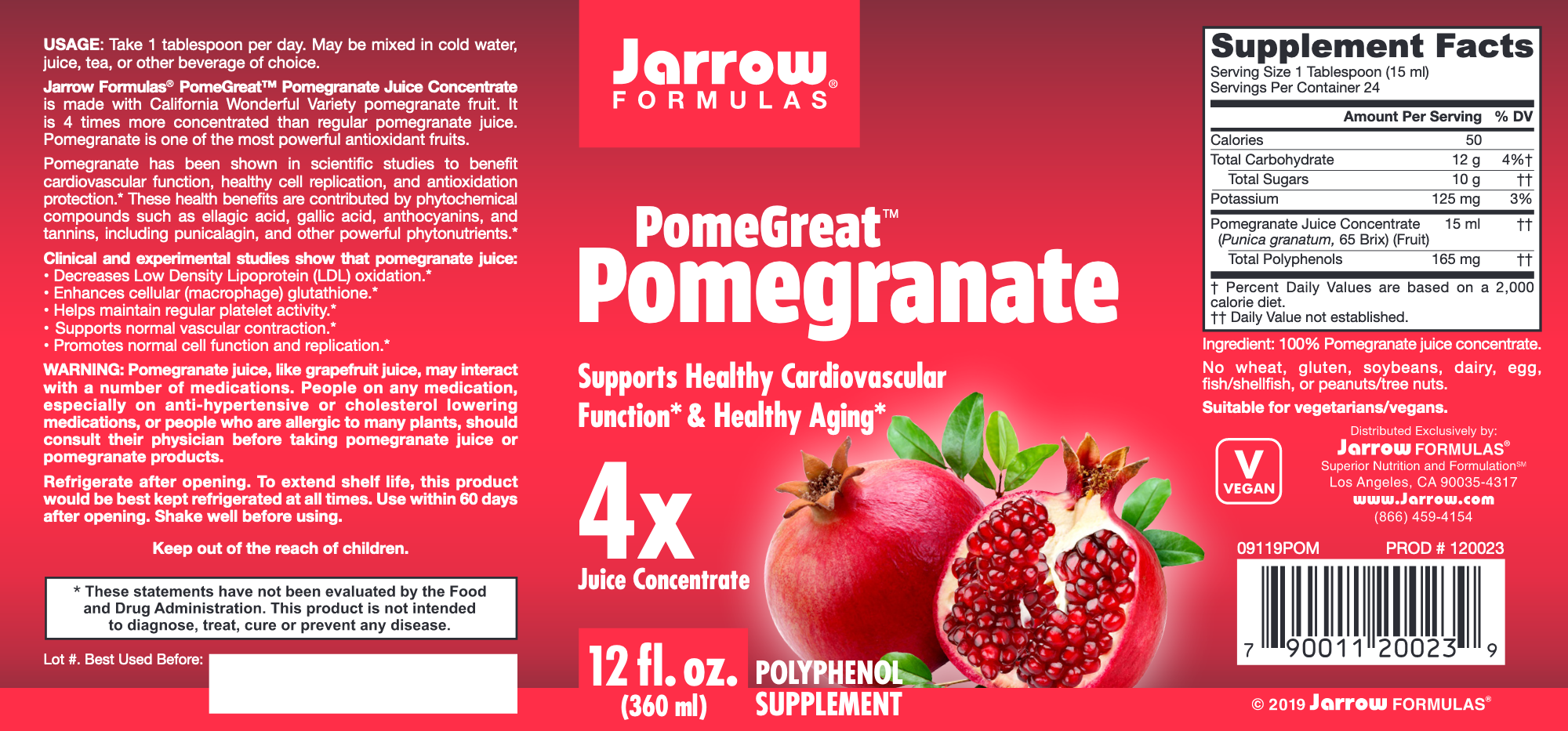 Pomegranate Juice Concentrate 12 oz