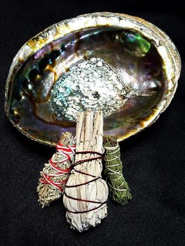 Native Scents Abalone Shell with 3 Mini Smudge Bundles