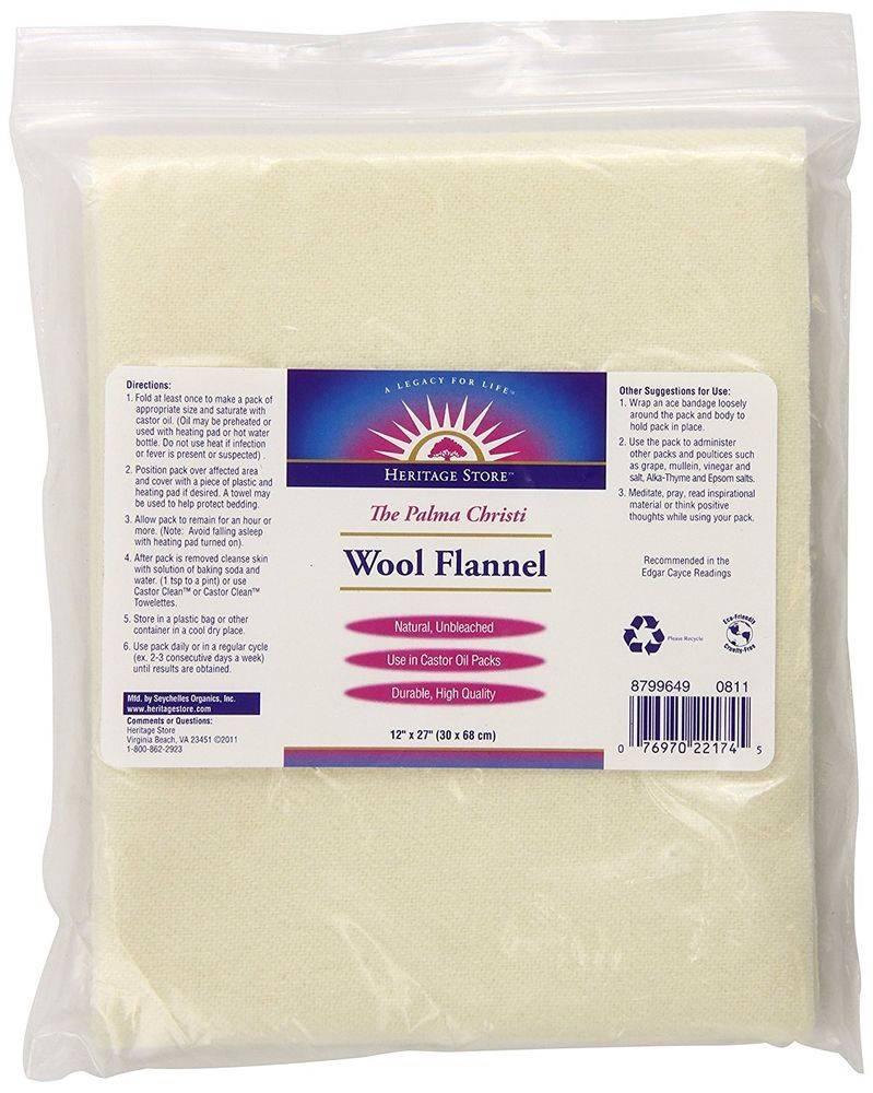 Wool Flannel  castor oil pack -- 12 x 27