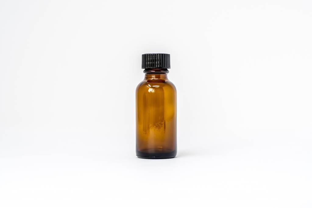 1 oz Amber Glass Bottles W/Flat Lid