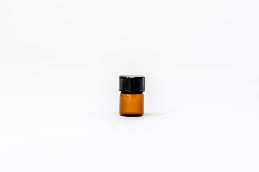 1 ml Amber Glass Bottles W/Flat Lid