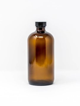 16 oz Amber Glass Bottles W/Flat Lid