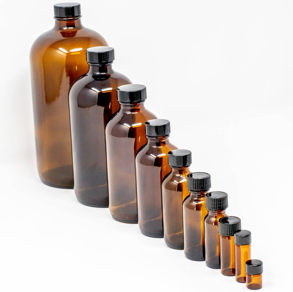 16 oz Amber Glass Bottles W/Flat Lid
