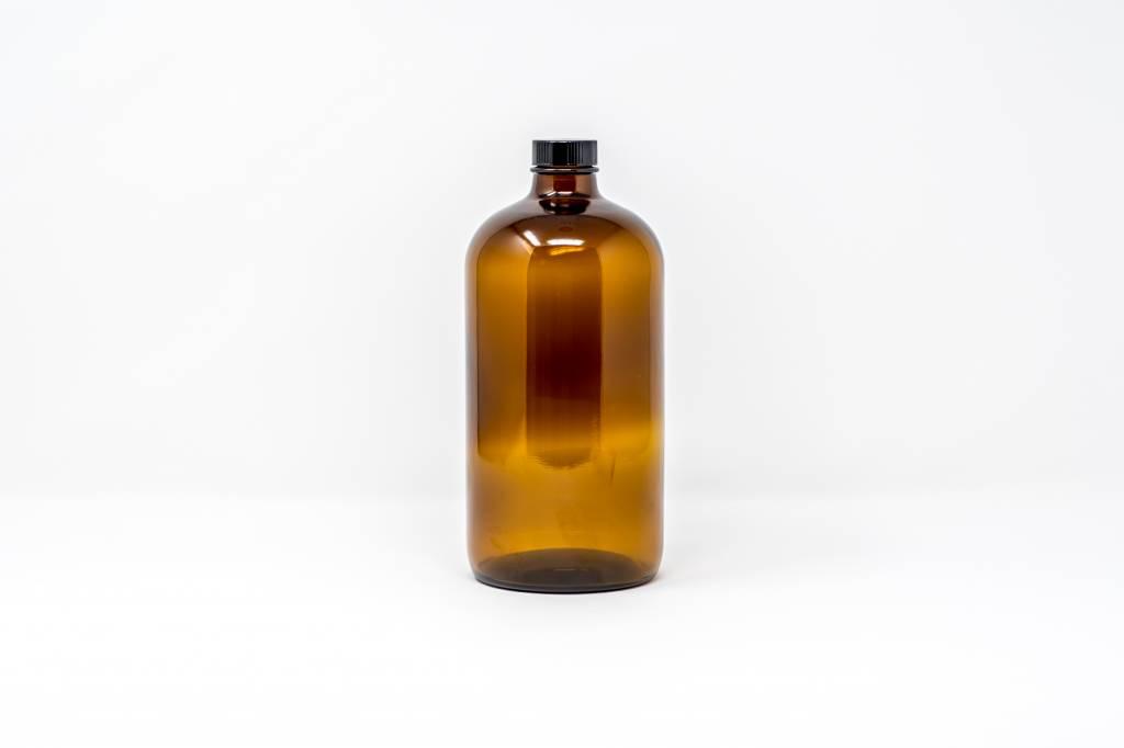 32 oz Amber Glass 32 w/Flat Lid