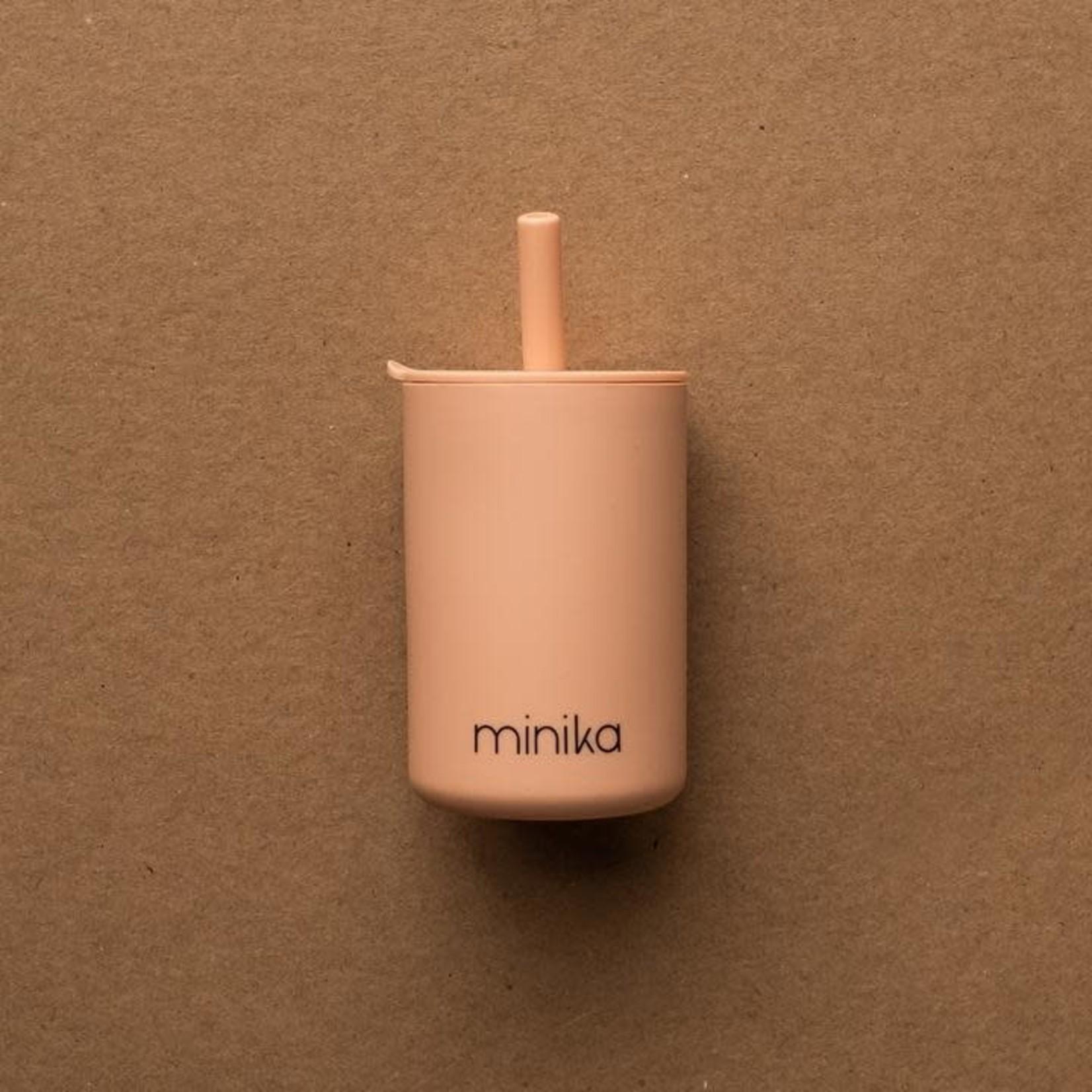 Minika Minika Verre avec paille et couvercle blush