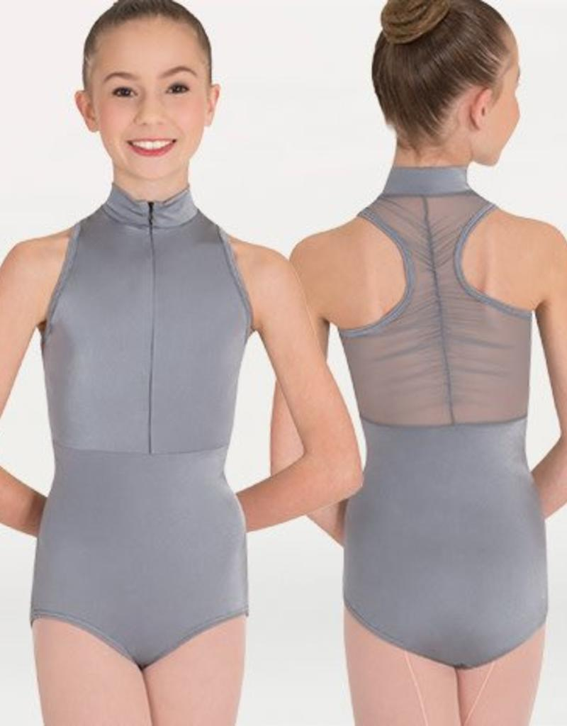 Body Wrappers Power Mesh Zip-Front Leo P1002